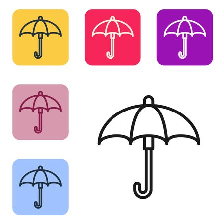 Black line Classic elegant opened umbrella icon isolated on white background. Rain protection symbol. Set icons in color square buttons. Vector Illustration