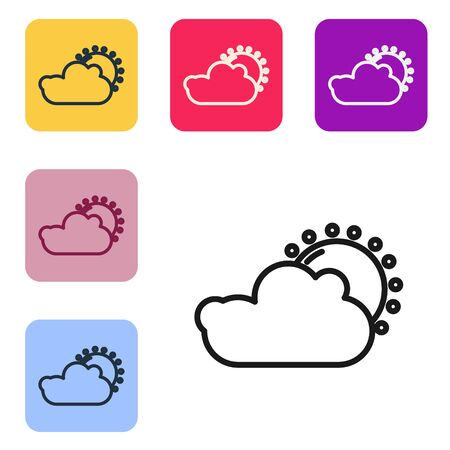 Black line Sun and cloud weather icon isolated on white background. Set icons in color square buttons. Vector Illustration