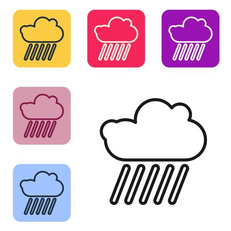 Black line Cloud with rain icon isolated on white background. Rain cloud precipitation with rain drops. Set icons in color square buttons. Vector Illustration 일러스트