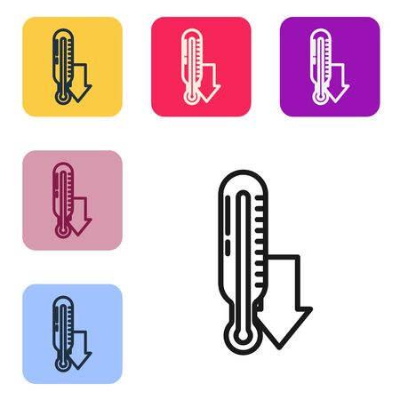 Black line Meteorology thermometer measuring icon isolated on white background. Thermometer equipment showing hot or cold weather. Set icons in color square buttons. Vector Illustration