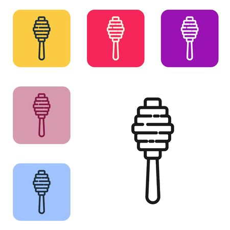 Black line Honey dipper stick icon isolated on white background. Honey ladle. Set icons in color square buttons. Vector Illustration