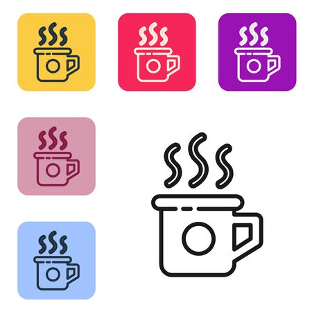 Black line Cup of tea icon isolated on white background. Sweet natural food. Set icons in color square buttons. Vector Illustration Ilustracja