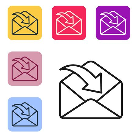Black line Envelope icon isolated on white background. Received message concept. New, email incoming message, sms. Mail delivery service. Set icons in color square buttons. Vector Illustration
