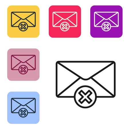 Black line Delete envelope icon isolated on white background. Delete or error letter. Cross on message. Rejected mail. Set icons in color square buttons. Vector Illustration