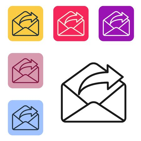 Black line Outgoing mail icon isolated on white background. Envelope symbol. Outgoing message sign. Mail navigation button. Set icons in color square buttons. Vector Illustration