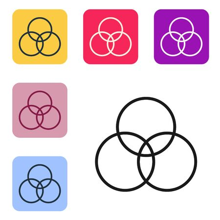 Black line RGB and CMYK color mixing icon isolated on white background. Set icons in color square buttons. Vector Illustration
