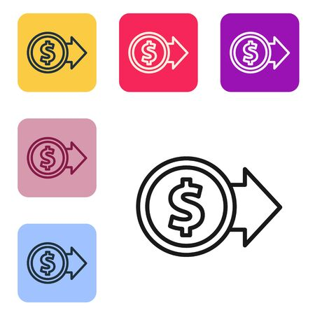Black line Coin money with dollar symbol icon isolated on white background. Banking currency sign. Cash symbol. Set icons in color square buttons. Vector Illustration