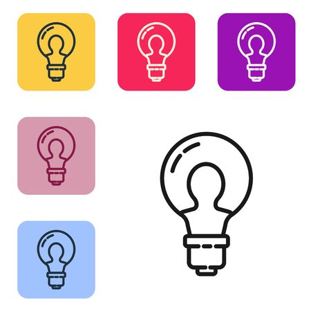 Black line Light bulb with concept of idea icon isolated on white background. Energy and idea symbol. Inspiration concept. Set icons in color square buttons. Vector Illustration