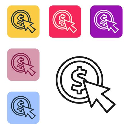 Black line Cursor and coin icon isolated on white background. Dollar or USD symbol. Cash Banking currency sign. Set icons in color square buttons. Vector Illustration Ilustrace