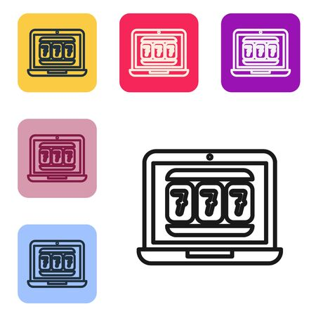 Black line Laptop and slot machine with lucky sevens jackpot icon isolated on white background. Online casino. Set icons in color square buttons. Vector Illustration