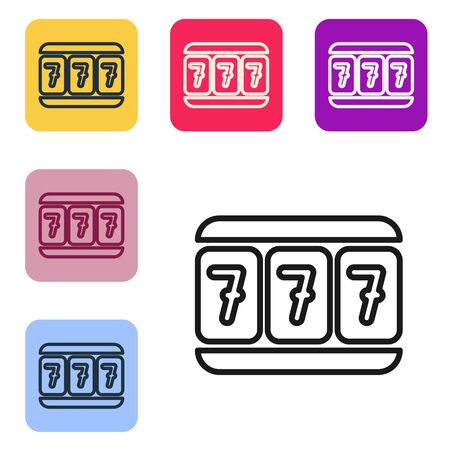 Black line Slot machine with lucky sevens jackpot icon isolated on white background. Set icons in color square buttons. Vector Illustration Ilustracja