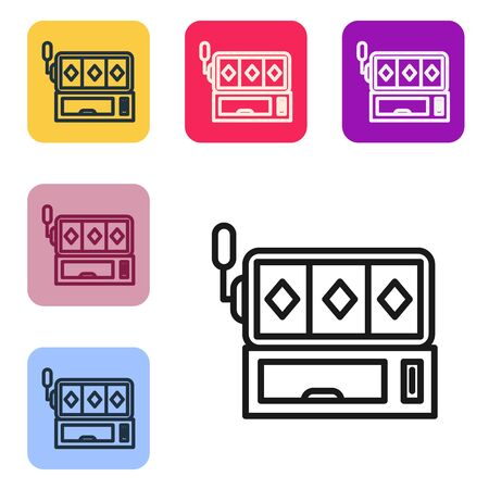 Black line Slot machine icon isolated on white background. Set icons in color square buttons. Vector Illustration