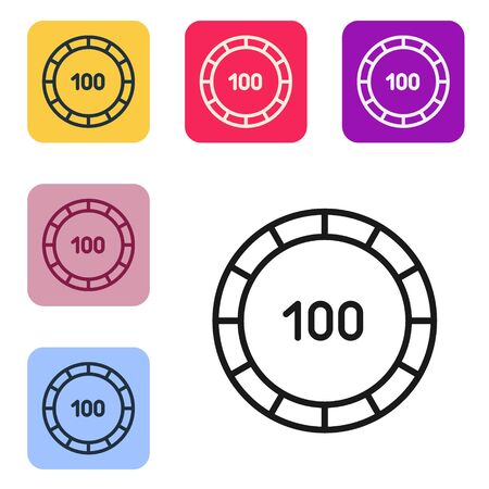 Black line Casino chips icon isolated on white background. Casino gambling. Set icons in color square buttons. Vector Illustration
