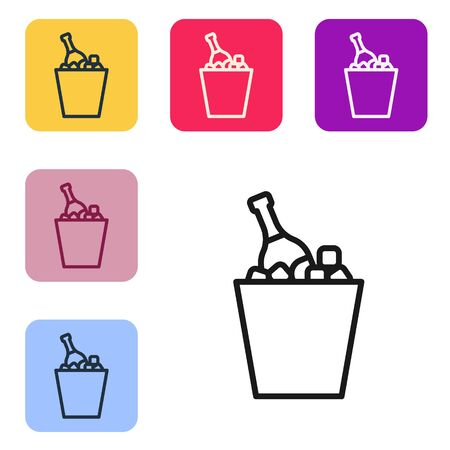 Black line Bottle of champagne in an ice bucket icon isolated on white background. Set icons in color square buttons. Vector Illustration