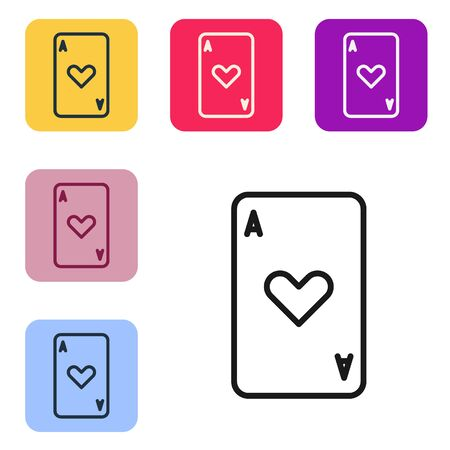 Black line Playing card with heart symbol icon isolated on white background. Casino gambling. Set icons in color square buttons. Vector Illustration