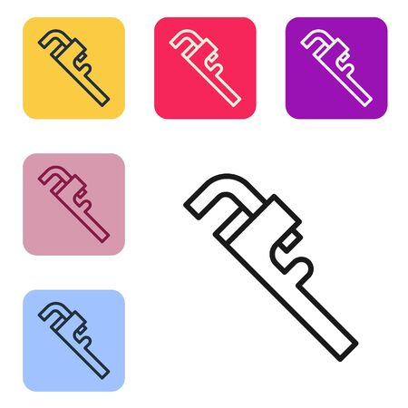 Black line Pipe adjustable wrench icon isolated on white background. Set icons in color square buttons. Vector Illustration