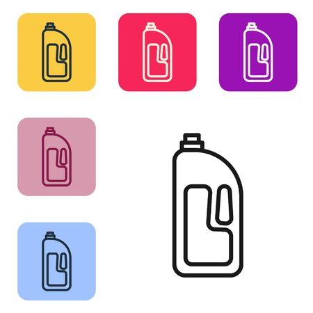 Black line Container with drain cleaner icon isolated on white background. Detergent in plastic bottle. Set icons in color square buttons. Vector Illustration