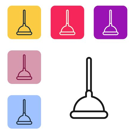 Black line Rubber plunger with wooden handle for pipe cleaning icon isolated on white background. Toilet plunger. Set icons in color square buttons. Vector Illustration Vectores
