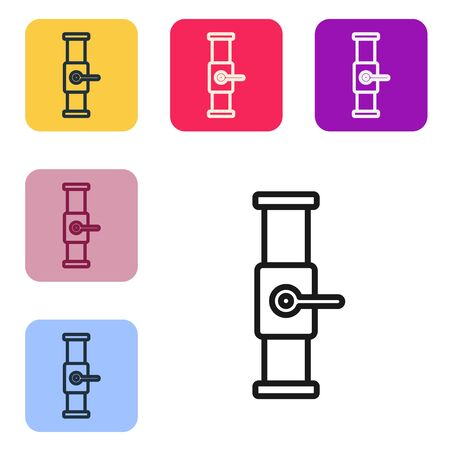Black line Industry metallic pipe and valve icon isolated on white background. Set icons in color square buttons. Vector Illustration