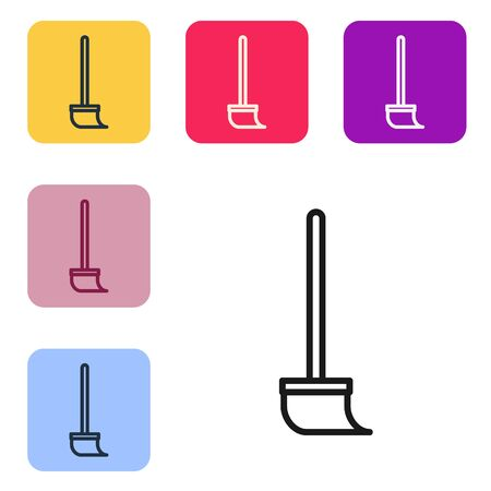 Black line Mop icon isolated on white background. Cleaning service concept. Set icons in color square buttons. Vector Illustration