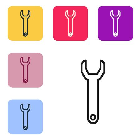 Black line Wrench spanner icon isolated on white background. Set icons in color square buttons. Vector Illustration
