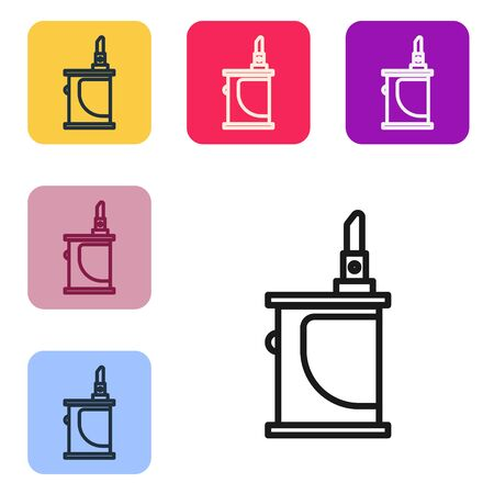 Black line Electronic cigarette icon isolated on white background. Vape smoking tool. Vaporizer Device. Set icons in color square buttons. Vector Illustration