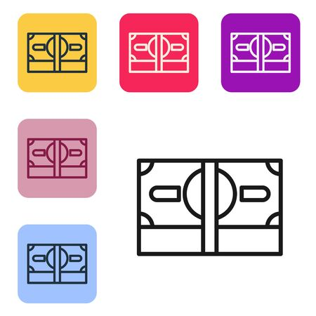 Black line Stacks paper money cash icon isolated on white background. Money banknotes stacks. Bill currency. Set icons in color square buttons. Vector Illustration