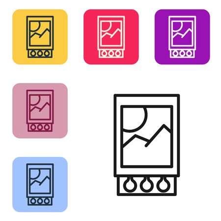 Black line Open matchbox and matches icon isolated on white background. Set icons in color square buttons. Vector Illustration Ilustração