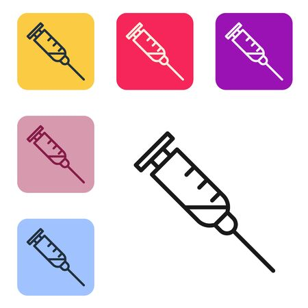 Black line Syringe icon isolated on white background. Syringe for vaccine, vaccination, injection, flu shot. Medical equipment. Set icons in color square buttons. Vector Illustration Illustration