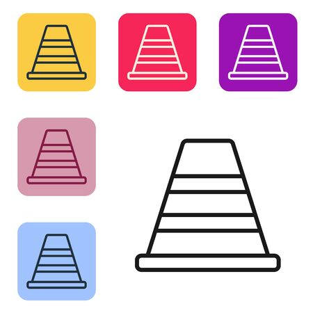 Black line Traffic cone icon isolated on white background. Set icons in color square buttons. Vector Illustration