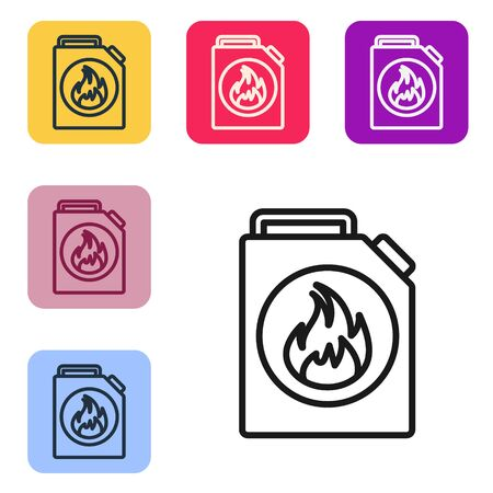 Black line Canister for flammable liquids icon isolated on white background. Oil or biofuel, explosive chemicals, dangerous substances. Set icons in color square buttons. Vector Illustration