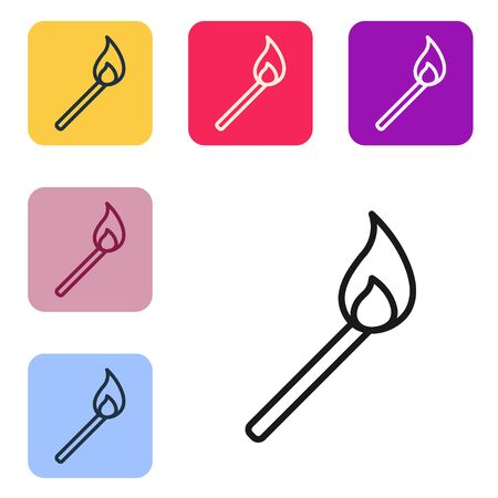 Black line Burning match with fire icon isolated on white background. Match with fire. Matches sign. Set icons in color square buttons. Vector Illustration