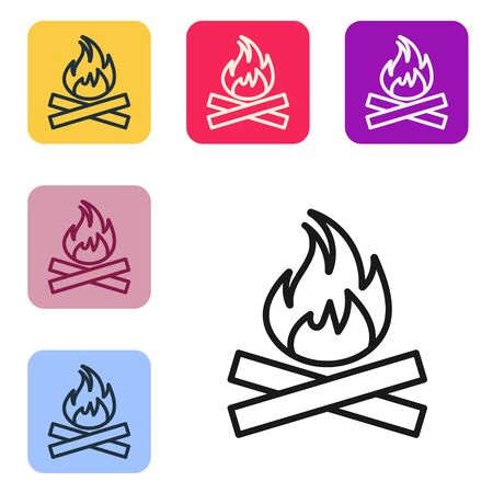 Black line Campfire icon isolated on white background. Burning bonfire with wood. Set icons in color square buttons. Vector Illustration
