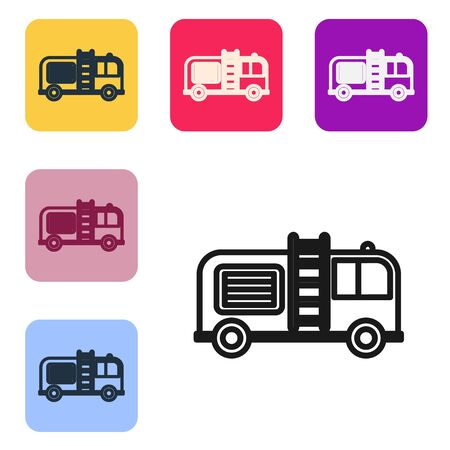 Black line Fire truck icon isolated on white background. Fire engine. Firefighters emergency vehicle. Set icons in color square buttons. Vector Illustration