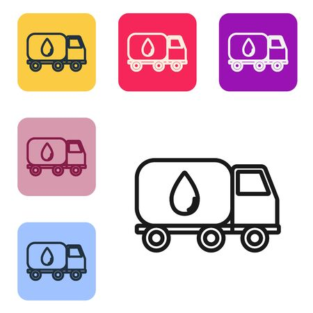 Black line Water delivery truck icon isolated on white background. Set icons in color square buttons. Vector Illustration