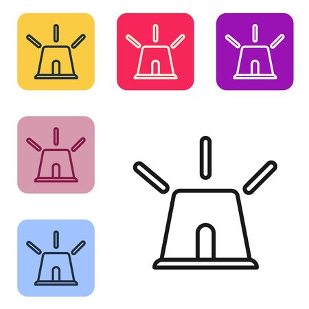 Black line Flasher siren icon isolated on white background. Emergency flashing siren. Set icons in color square buttons. Vector Illustration Ilustracja