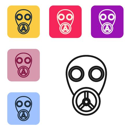 Black line Gas mask icon isolated on white background. Respirator sign. Set icons in color square buttons. Vector Illustration Ilustração