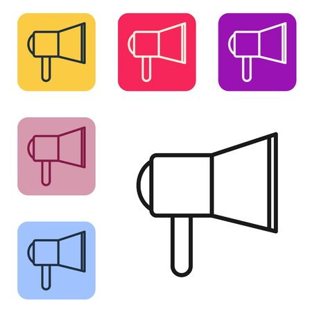 Black line Megaphone icon isolated on white background. Speaker sign. Set icons in color square buttons. Vector Illustration
