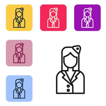 Black line Stewardess icon isolated on white background. Set icons in color square buttons. Vector Illustration