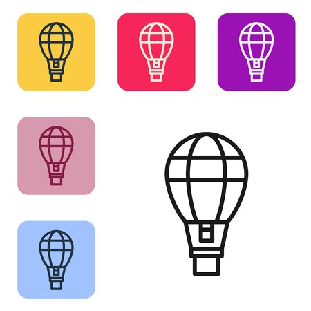 Black line Hot air balloon icon isolated on white background. Air transport for travel. Set icons in color square buttons. Vector Illustration