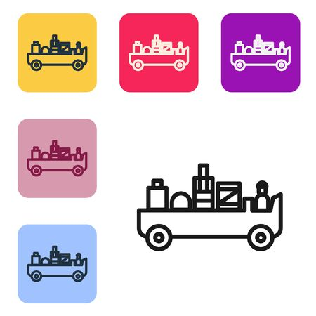 Black line Airport luggage towing truck icon isolated on white background. Airport luggage delivery car. Set icons in color square buttons. Vector Illustration Ilustracja