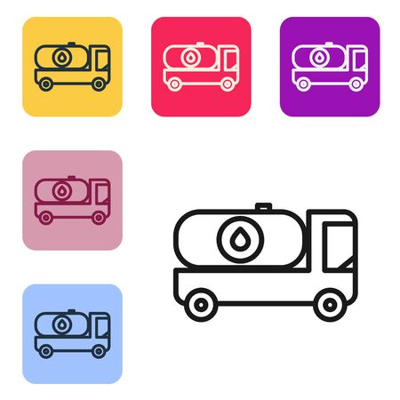 Black line Fuel tanker truck icon isolated on white background. Gasoline tanker. Set icons in color square buttons. Vector Illustration