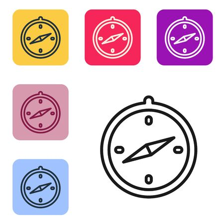 Black line Compass icon isolated on white background. Windrose navigation symbol. Wind rose sign. Set icons in color square buttons. Vector Illustration