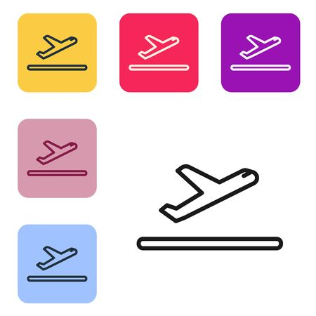 Black line Plane takeoff icon isolated on white background. Airplane transport symbol. Set icons in color square buttons. Vector Illustration