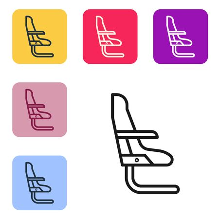 Black line Airplane seat icon isolated on white background. Set icons in color square buttons. Vector Illustration