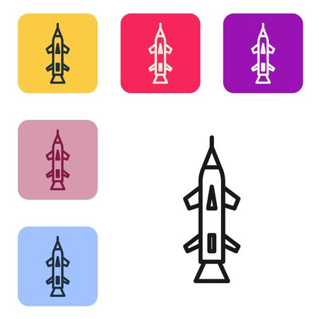 Black line Rocket icon isolated on white background. Set icons in color square buttons. Vector Illustration