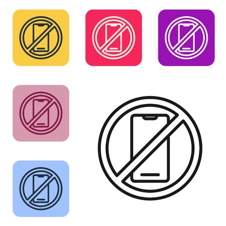 Black line No cell phone icon isolated on white background. No talking and calling sign. Cell prohibition. Set icons in color square buttons. Vector Illustration