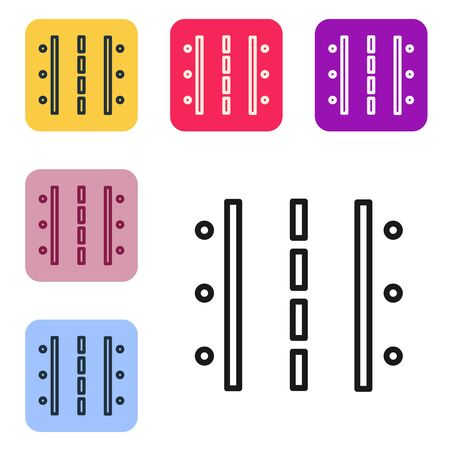 Black line Airport runway for taking off and landing aircrafts icon isolated on white background. Set icons in color square buttons. Vector Illustration