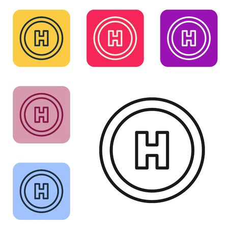Black line Helicopter landing pad icon isolated on white background. Helipad, area, platform, H letter. Set icons in color square buttons. Vector Illustration