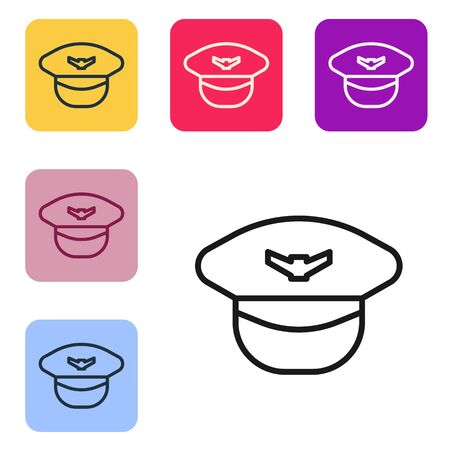 Black line Pilot hat icon isolated on white background. Set icons in color square buttons. Vector Illustration